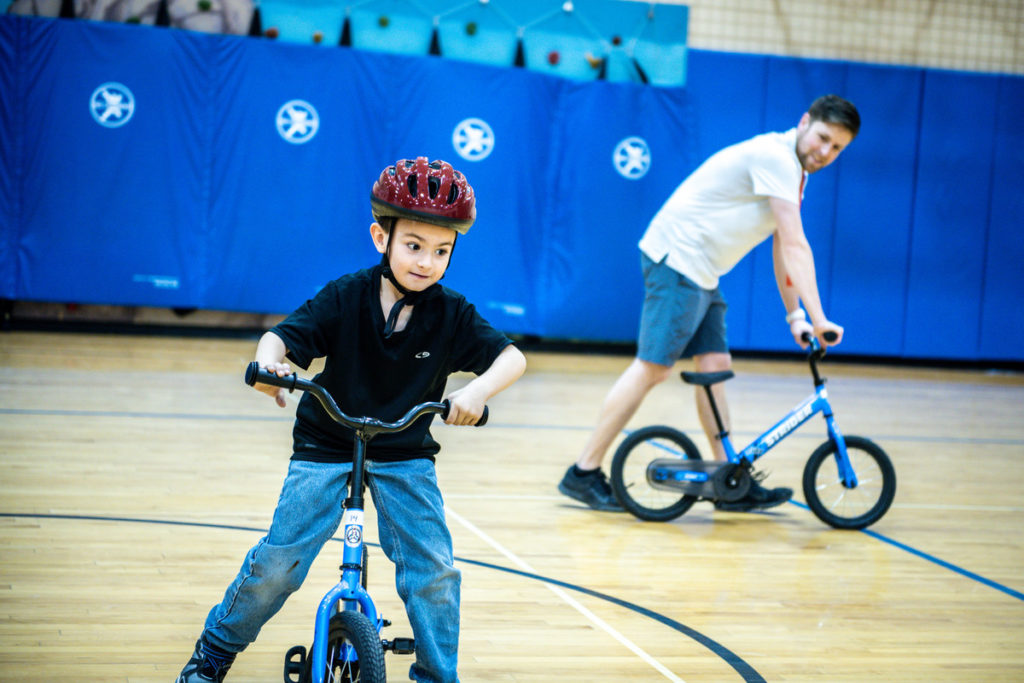 Joy in teaching kids to ride